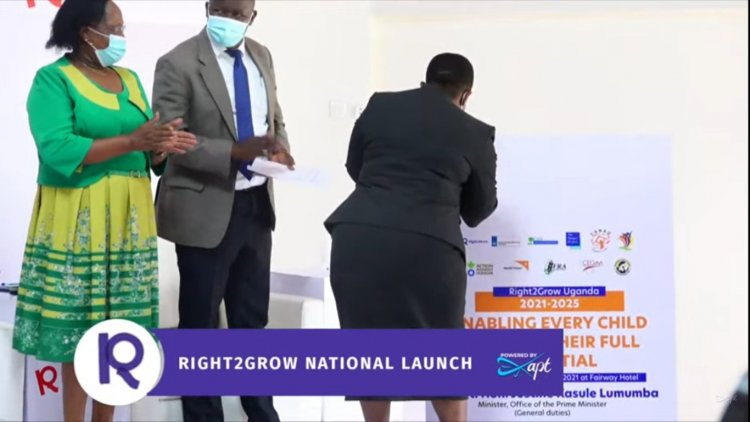 """Prime Minister Nabanja launches """"Right2Grow"""" project to drum for increased investment in nutrition of children in Uganda."""